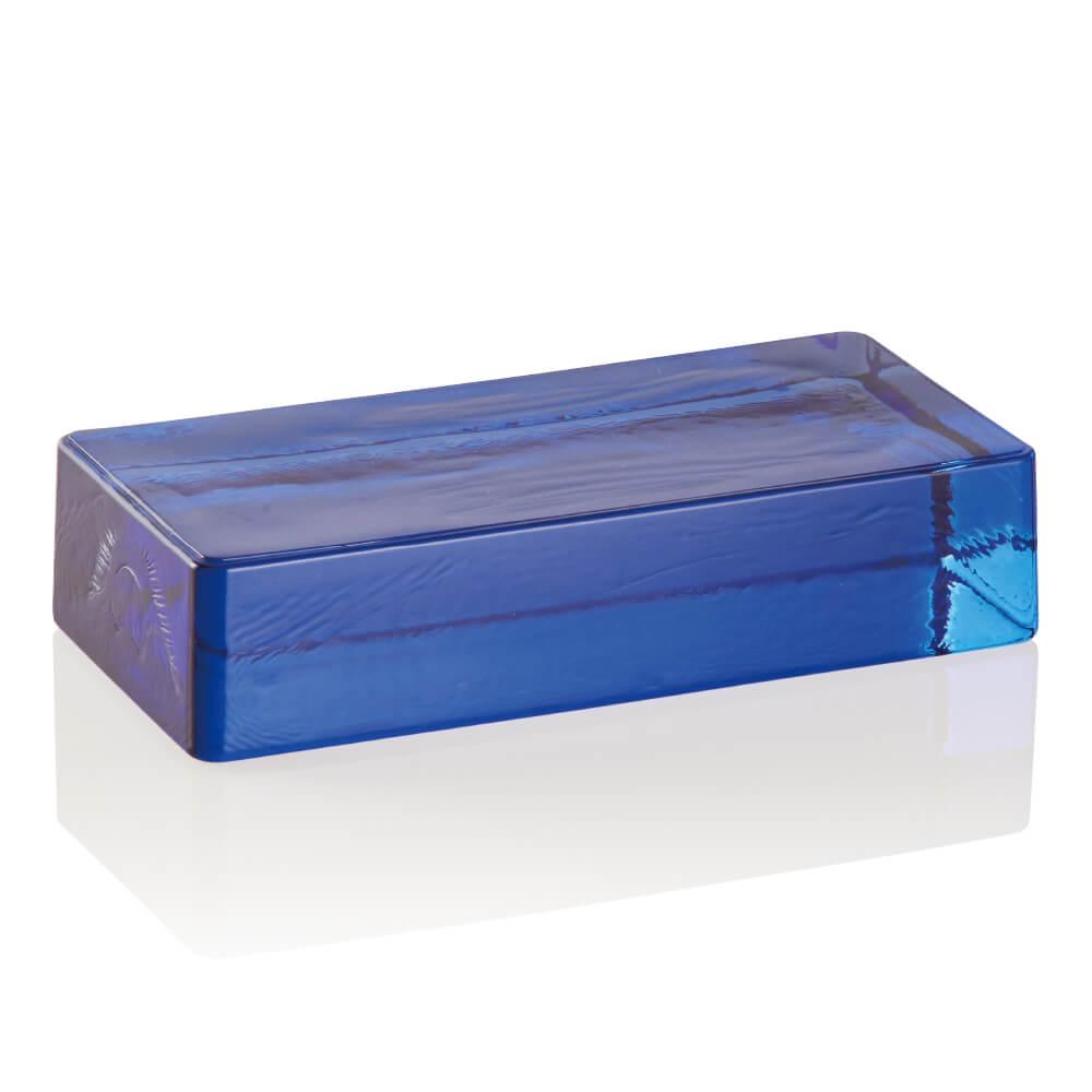 ベネチアンガラスブリック キューブコバルトブルー